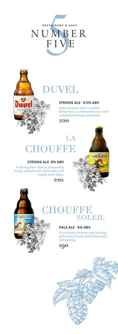 Elegant beer menu design by NEBSLY media for Number 5 Bangkok
