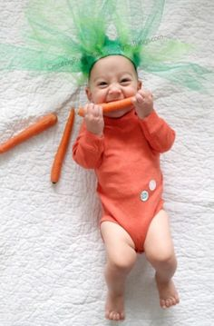 How to make a DIY baby carrot Halloween costume!: How to make a DIY baby carrot Halloween costume! Cute Baby Halloween Costumes, Diy Baby Costumes, Baby First Halloween, Diy Halloween Costumes For Kids, Costume Ideas, Scary Halloween, Toddler Costumes, Zombie Costumes, Halloween Couples