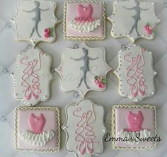 Sugar Cookies Decorated With Royal Icing Ballerina, Tutu, and Ballet Slippers Designs. Cookies For Kids, Fancy Cookies, Iced Cookies, Cute Cookies, Sugar Cookies, Ballerina Cookies, Ballerina Party, Ballet Cakes, Dance Cakes