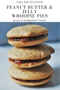 Want to feel like a kid again? These PB&J Whoopie Pies will do the trick. Soft and pillowy peanut butter cookies are sandwiched with sweet jelly for a fun and nostalgic cookie even adults will love. #whoopiepies #pbj #peanutbutterandjelly #baking