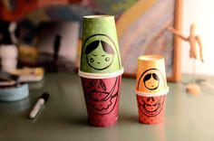 Russian Dolls with Paper Cups This project is so easy. Just collect some empty cups and you can now start your DIY Russian dolls project.