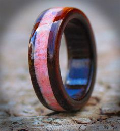Indian Rosewood & Crushed Opal Handcrafted at www.wooden-rings.com See Touch Experience The Beauty of Wood