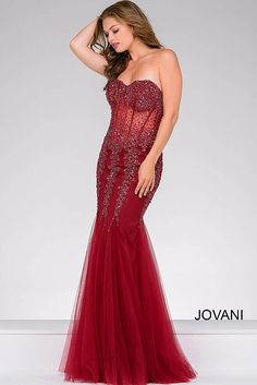 Burgundy Mermaid See Through Bodice Prom Dress 5908