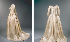 """""""Piemontaise"""" gown with watteau back, 1770s (?), Denmark, silk, light yellow, white and blue striped with white floral pattern. NATMUS DK"""