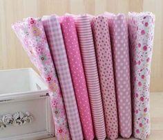 Lot de 7 coupons tissu patchwork/couture 50 x 50 cm TONS ROSE IV : Tissus pour Patchwork par mapierrine
