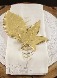 DIY Clay Golden Leaves - love these! Great for a tablescape, place card, candle holder, etc.