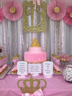Pink and gold princess baby shower party! See more party planning ideas at CatchMyParty.com!