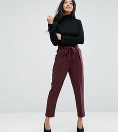 ASOS PETITE Woven Peg Pants with Obi Tie - Red