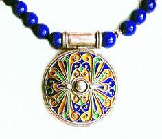 Moroccan Enamel & Afghani Lapis Lazuli Necklace by SilkRoadJewelry