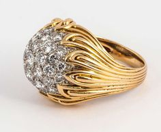 Van Cleef & Arpels Diamond Gold Bombe Ring | From a unique collection of vintage cocktail rings at https://www.1stdibs.com/jewelry/rings/cocktail-rings/
