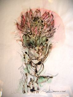 Title: Brand my mooi, Heer (Burn me beautiful Lord) Medium: Mixed media on paper: Charcoal/Chalk pastel/Graphite/Flammable glue Size: x Flower Drawings, Hardy Plants, Chalk Pastels, Amazing Flowers, Botanical Prints, Vases, Watercolor Tattoo, Burns, Mixed Media