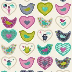 Makower UK - Windy Day - Hearts Panel in Teal