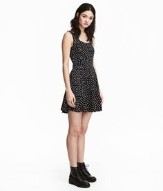 Check this out! Short, sleeveless dress in thick jersey. Low-cut neckline at back, seam at waist, and flared skirt. - Visit hm.com to see more.