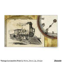 Vintage Locomotive Print Rectangular Sticker