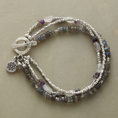 """STORM CLOUDS BRACELET -- Storm cloud colors of labradorite, moonstone and amethyst are shot through with the radiance of sterling silver beads. Toggle clasp. Exclusive. Handcrafted in USA. Approx. 7-1/2""""L."""