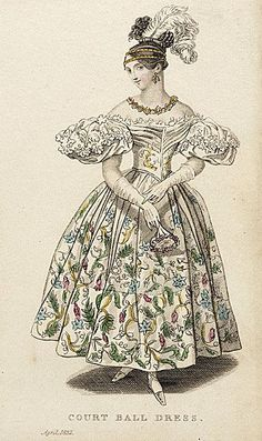 "1832 ""Court Ball Dress"" Ladies Pocket Magazine fashion plate from LACMA Collections Online - more can be seen at collectionsonline. 1800s Fashion, 19th Century Fashion, Victorian Fashion, Vintage Fashion, French Fashion, Historical Costume, Historical Clothing, Silhouette Mode, Costume Français"