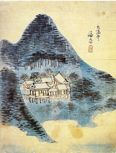 (Korea) Jeongyang temple in Mt Geumgang by Jeong Seon (1676- 1759). color on paper.
