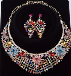 2016 Vintage Palace Chokers Earrings Sets Blossom Chunky Necklaces Alloy Acrylic Rhinestone Statement Necklaces Party Jewelry From Janet521, $16.69 | Dhgate.Com