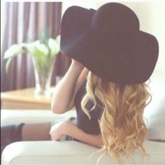 Black Wool Floppy Hat 100% wool. Super cute. Brand new   NWOT.  LAST ONE Accessories Hats