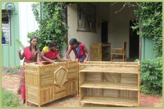 #Gujarat Women making some bamboo shelves.