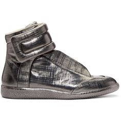 Maison Margiela Gunmetal Metallic Future High-Top Sneakers ($970) ❤ liked on Polyvore featuring men's fashion, men's shoes, men's sneakers, mens velcro sneakers, mens velcro shoes, mens metallic gold sneakers, mens high top shoes and mens high top sneakers