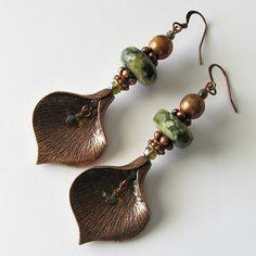 Copper Leaf and Green Rhyolite Gemstone Earrings, Pear Shaped Leaf, Long Drop Boho Earrings, Beaded Earrings Beaded Jewelry, OOAK