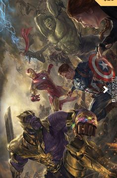 Avengers End Game art by The Knott Marvel Dc Comics, Marvel Avengers, Ultron Marvel, Thanos Marvel, Marvel Comics Wallpaper, Odin Marvel, Comics Spiderman, Avengers Wallpaper, Marvel Comic Universe