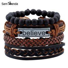 2018 Bracelets & Bangles Mens Leather Bracelets Charm Pulseira Masculina Jewelry Believe Black Stone Beads Bileklik Pulseiras Beaded Cuff Bracelet, Bracelet Cuir, Braided Bracelets, Bracelets For Men, Handmade Bracelets, Bracelet Set, Fashion Bracelets, Bangle Bracelets, Anchor Bracelets