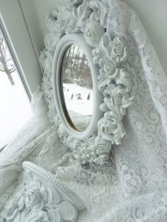 White chic rococo ornate scroll rose frame shabby French