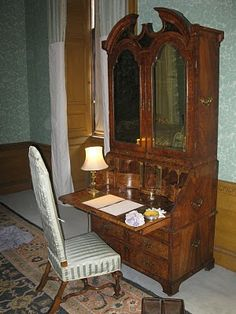 """the desk used by Colin Firth in the 1995 movie """"Pride & Prejudice"""" -- Darcy sat here to write his letter to Elizabeth -- Belton House, Lincolnshire"""