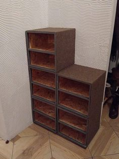 Homemade shoe cabinets made from OSB #handmade #crafts #HowTo #DIY