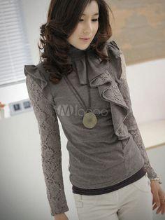 [$25.99] Grey Ruffles High Neck Lace Cotton Woman's T-Shirt