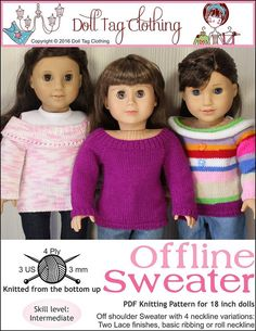 Off shoulder knitting pattern with 4 different collar edges for 18 inch dolls like American Gil by Doll Tag Clothing from Pixiefaire