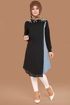 N - Chest Lace and Beading Trimmed Tunic Black & Blue - Style Evening Dresses Modern Hijab Fashion, Islamic Fashion, Abaya Fashion, Muslim Fashion, Modest Fashion, Fashion Dresses, Islamic Clothing, Muslim Women, Dress Patterns