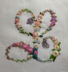 Flower monogram from inspirations Embroidery Alphabet, Embroidery Monogram, Silk Ribbon Embroidery, Hand Embroidery Patterns, Embroidery Art, Embroidery Stitches, Embroidery Designs, Creative Embroidery, Brazilian Embroidery