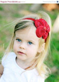 another headband idea (5 fabric swirls) Red Flower Headband - Posh Red Beaded Satin Swirl Flower Red Headband or Hair Clip - Christmas Headband - Baby Toddler Child Girls Headband. via Etsy.