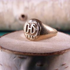 ANTIQUE 10K Gold Class Ring DHS 1917.