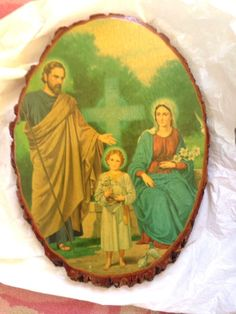Inspirational Illustration of Holy Family Printed on Natural Log Slice Plaque MidCentury  perfect for daily devotions #MidcenturyIllustration #catholic #blessedmother #collectible #logslices #religious #art #retro #decorative #decoupage