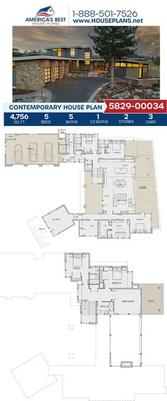Build big & beautiful with Plan 5829-00034! This Contemporary design gives you 4,756 sq. ft., 5 bedrooms, 5.5 bathrooms, a flex room, a mud room, a guest room, and a kitchen island. Get more information about this beautiful design on our website today! Contemporary House Plans, Contemporary Bathrooms, Contemporary Design, Floor Plan Drawing, Building Section, Flex Room, Floor Framing, Best House Plans, Build Your Dream Home