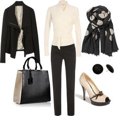 """work wear - black and cream"" by lulums on Polyvore"