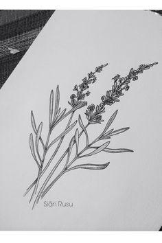 Lavender Drawing, Dotwork, Staedtler, Fineliners Art, Artwork,