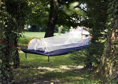 The Nyamuk: compact sleeping bag that goes from full tent to hammock complete with mosquito net.