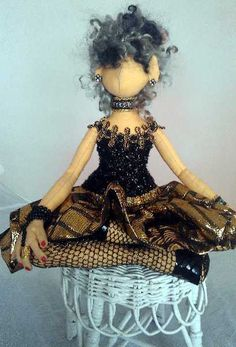 black doll a ooak diva by paintedthreads2 on Etsy, $90.00
