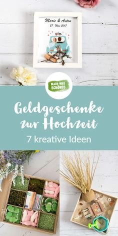 DIY Geldgeschenke zur Hochzeit - 7 Ideen Wedding Gifts - discover our creative DIY ideas on how to make a personal wedding gift. Find a suitable gift idea for every bride and groom - no matter if roma Unique Wedding Gifts, Personalized Wedding Gifts, Unique Gifts, Money Gift Wedding, Don D'argent, Engagement Ring Cuts, Diy Art, Diy Gifts, Wedding Favors