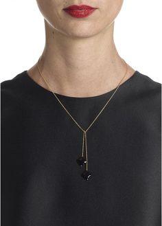 Collier cravate avec 2 trèfles Noir by SOPHIE DESCHAMPS