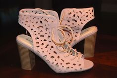 Light Pink Faux Nubuck Chunky Lace Up Heels Size 9 #Bamboo #LaceUps