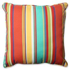 """Pillow Perfect Outdoor/Indoor Westport Spring Floor Pillow, 25"""", Striped, Multicolored"""