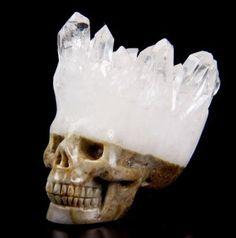 Nice-1-9-034-QUARTZ-DRUSE-Carved-Crystal-Skull-Crystal-Healing