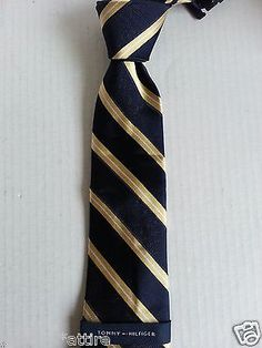 """men ties on sale (dress tie, silk tie, bow tie, sets, cufflinks) : Tommy Hilfiger men neck dress #tie NAVY BLUE with YELLOW STRIPES NWT (L 60 W 3"""") Tommyhilfiger withing our EBAY store at  http://stores.ebay.com/esquirestore"""