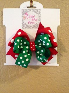 Girl's Hair Bow.  Cute Christmas Hair Bow.  Lots of different ribbon options on Etsy.